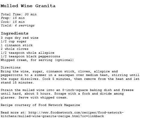 Mulled Wine Granita