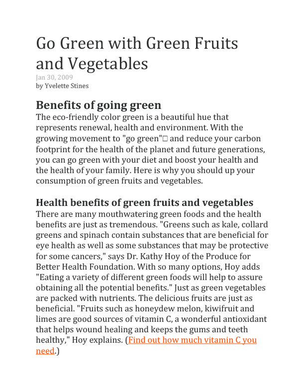 Go Green with Green Fruits and Vegetables-1