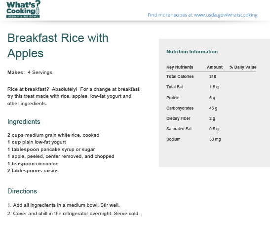 Breakfast Rice with Apples | What's Cooking? USDA Mixing Bowl