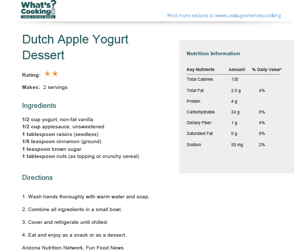 Dutch Apple Yogurt Dessert | What's Cooking? USDA Mixing Bowl