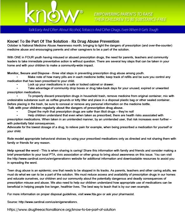 National Medicine Abuse Awareness Month