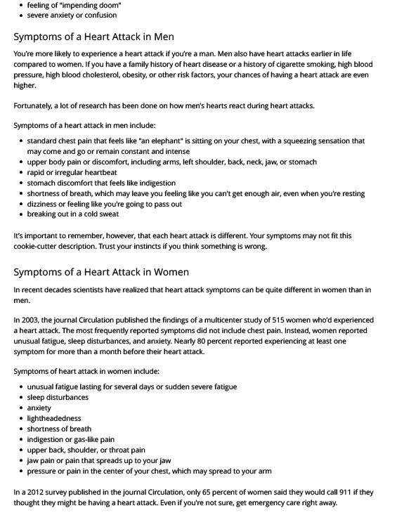 Heart Attack Symptoms in Men and Women